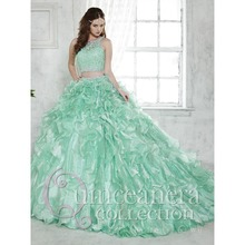 2015 Two-Piece Quinceanera Dress Ball Gown Crystal Beaded Lace Ruffled Detachable Train Green 15 year girl Quinceanera Gown