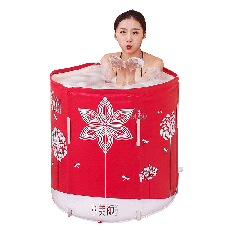 Shui mei yan folding bathtub, leather pattern alloy stent free inflatable tub