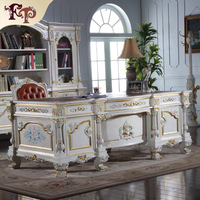 Luxury Office Furniture Baroque Hand Carving Royalty Study Room Set Free Shipping