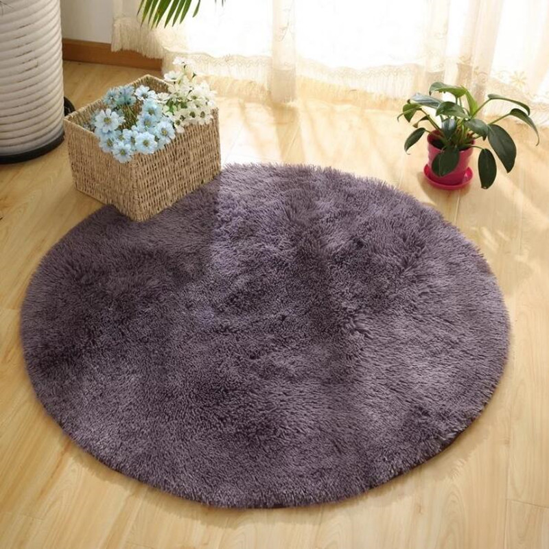 Solid color Round Carpet Computer Chair Carpets Dome of mattress floor mats Shaggy Faux Fur Area Rug for Living Room Kids Room