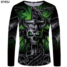 KYKU Brand Skull T shirt Men Long sleeve Green Funny shirts Bull Head Rock Dragon Streetwear Anime Japan Mens Clothing