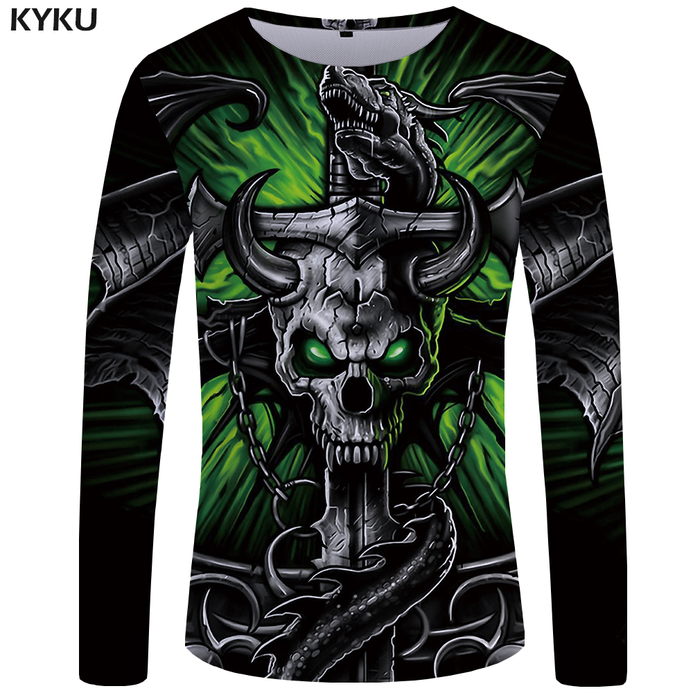 KYKU Brand Skull   T     shirt   Men Long sleeve   shirt   Green Funny   T     shirts   Bull Head Rock Dragon Streetwear Anime Japan Mens Clothing