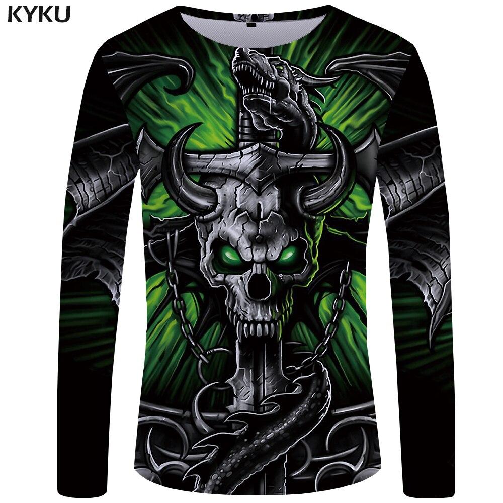 KYKU marque crâne t-shirt hommes à manches longues chemise vert drôle t-shirts tête de taureau Rock Dragon Streetwear Anime japon hommes vêtements