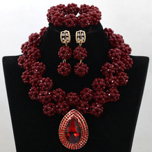 Luxury Lady Wedding Bride Beads Jewelry Set Wine Red African Crystal Bead Necklace Set Fashion Women Jewelry Free shipping QW116