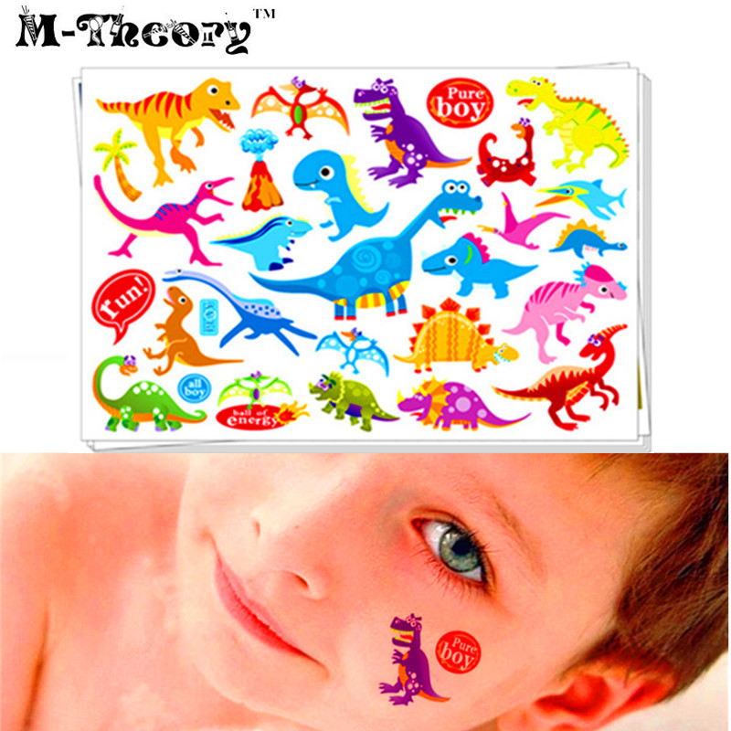 Funny Kids Favorites Tattoo Stickers Water Transfer Body Art Waterproof 3-5 Days 100% Safe Dinosaur Designs