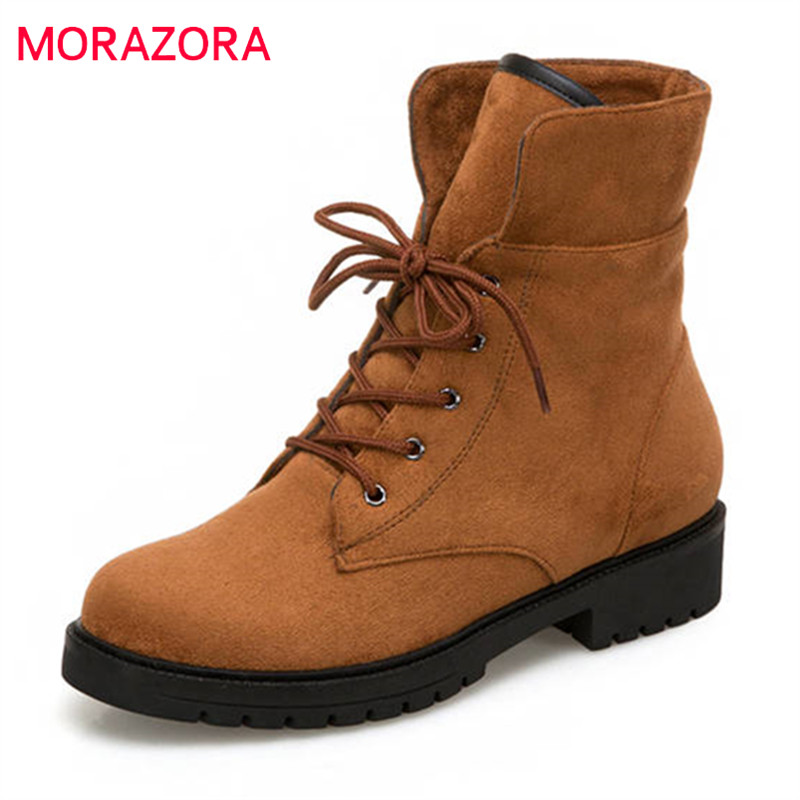 MORAZORA wholesale ankle boots women keep warm winter boots fashion platform boots lace up Martin boots female shoes russiaMORAZORA wholesale ankle boots women keep warm winter boots fashion platform boots lace up Martin boots female shoes russia