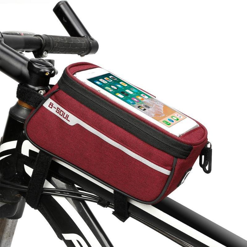 цена на Waterproof MTB Road Bike Front Tube Bag 6 Inch Phone Touch Screen Saddle Bag PU Bike Cycling Beam Saddle Bag Bike Accessories