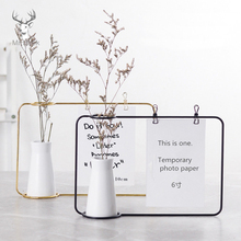 Nordic Iron Art Desktop Decoration Notes Clips Card Photo Holder Table Memo Name Message Clips with Flower Vase Office Decor