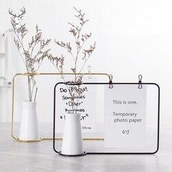 Nordic ferro arte decoração do desktop notas clipes cartão foto titular mesa memo nome mensagem clipes com vaso de flores decoração escritório