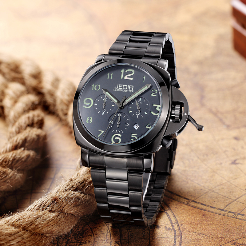 ФОТО Jedir Brand Fashion military luminous quartz watches men analog casual chronograph waterproof leather wristwatch man top brand