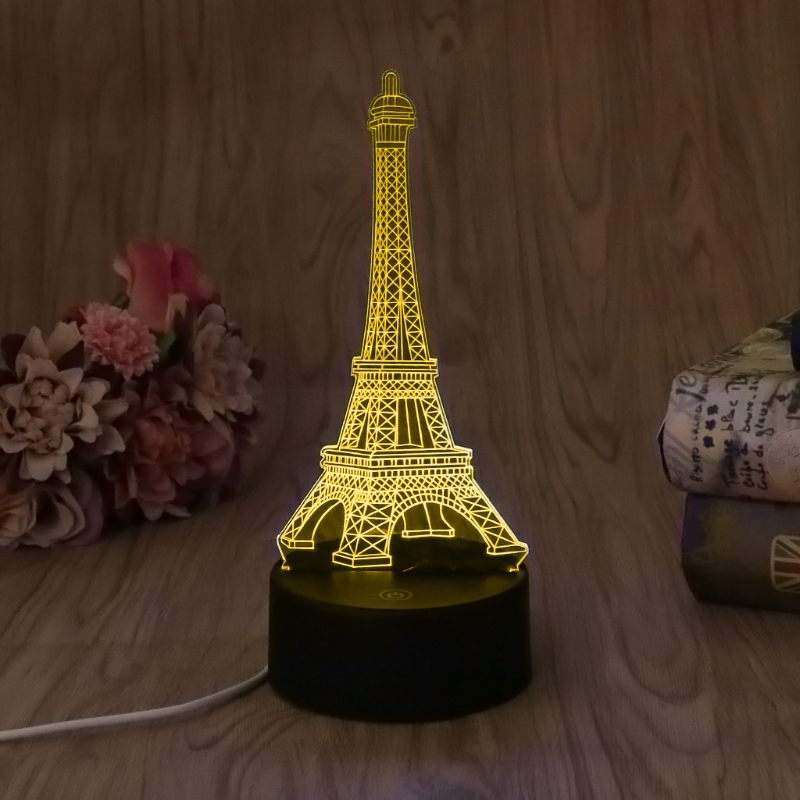 USB Novelty 7 Colors Changing Eiffel Tower LED Night Light 3D Desk Table Lamp #20/18L