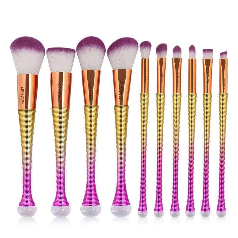 10 PCS Mermaid Makeup Brushes Set Fantasy Eyebrow Eyeliner Blush Blending Contour Foundation Cosmetic Beauty Make Up Brush