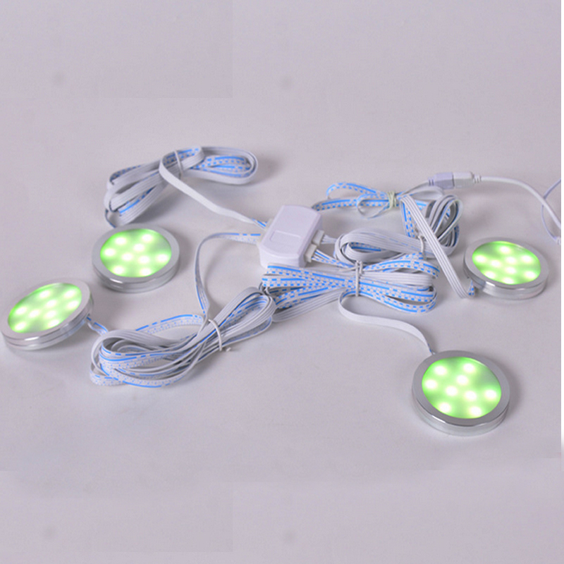 (Pack of 4 units) RGB Color Changing,LED Closet Lights ,LED Puck Lights,Under Cabinet Lighting with RF Remote Control