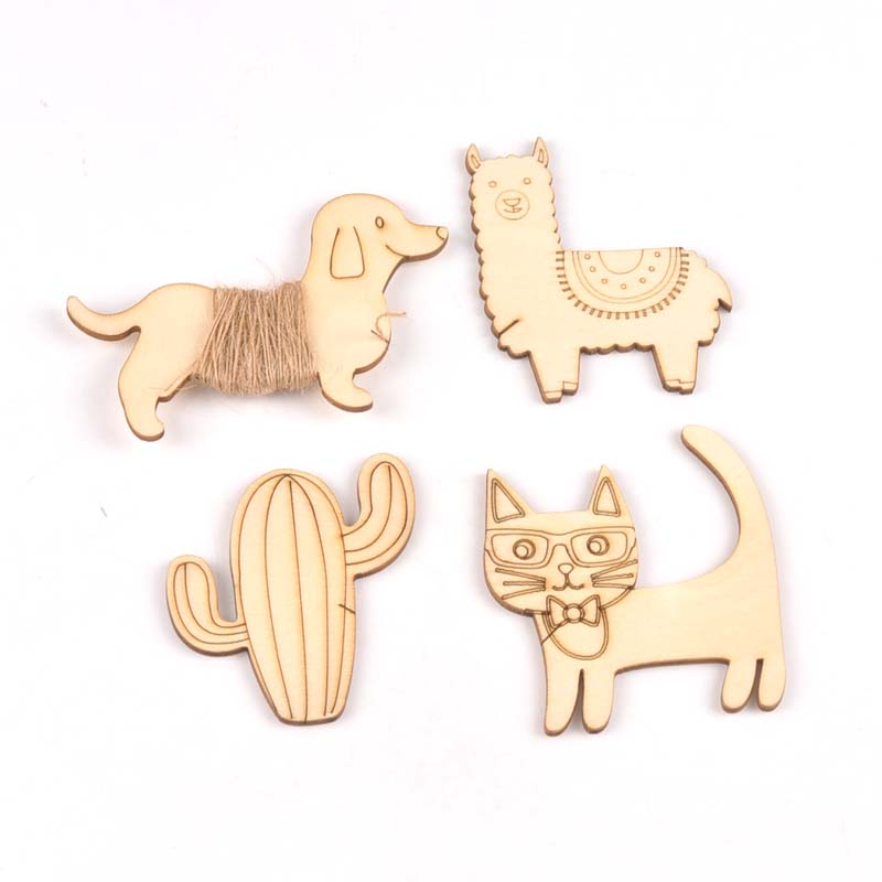 4Pcs Unfinished Dog/cat/alpaca/cactus Shape Wooden Bobbin Spools  Cord Wire Sewing For Thread String Ribbons Trims 63-90mm M2158