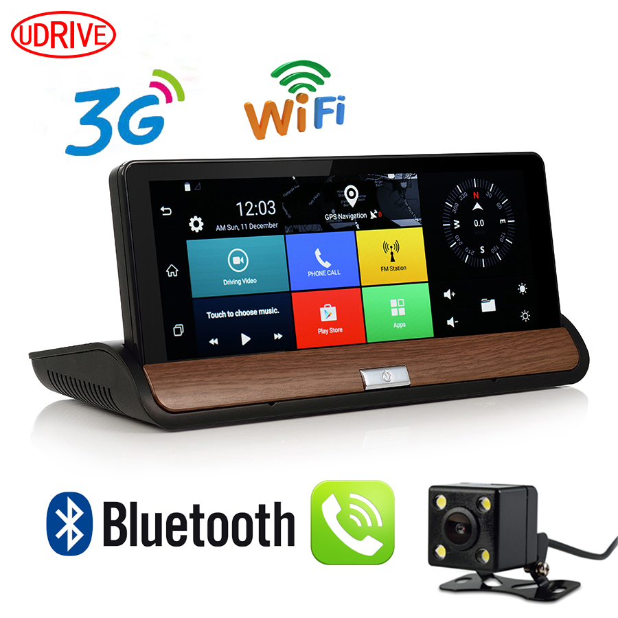 Udricare 7 inch 3G GPS WiFi Android 5 0 Dashboard GPS Navigation Dual Lens Bluetooth FHD1080P