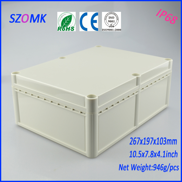 2 psc a lot High quality plastic waterproof abs plastic wall mounting electric box with solid cover 267*197*103mm