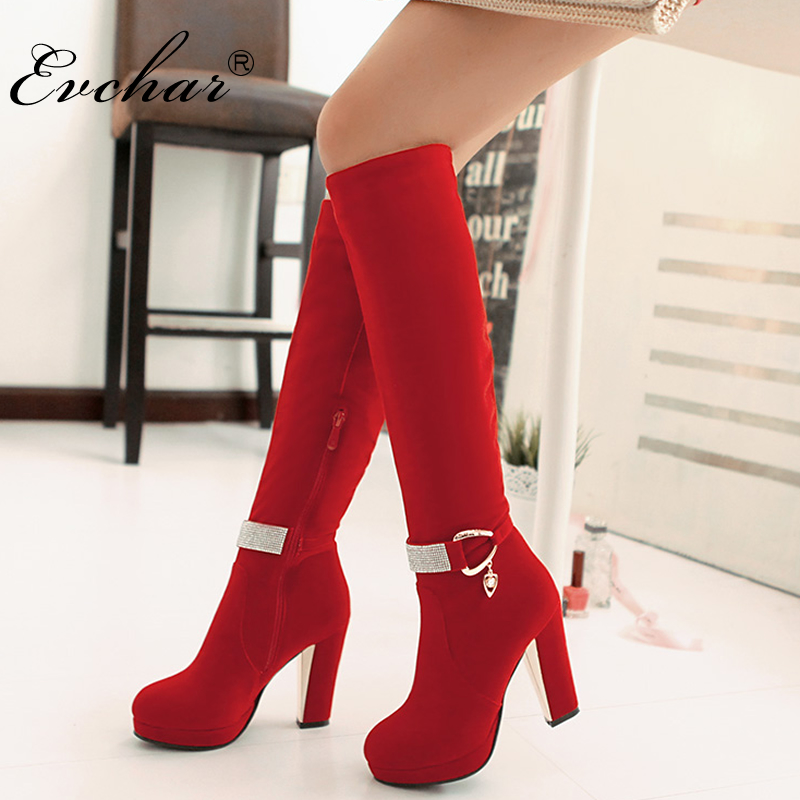 Nubuck PU Black,Red pointed toe Square high heels women fashion Martin boots Western metal belt buckle ladies shoes size 34-43 women fashion square buckle basic dress leatherette wide belt