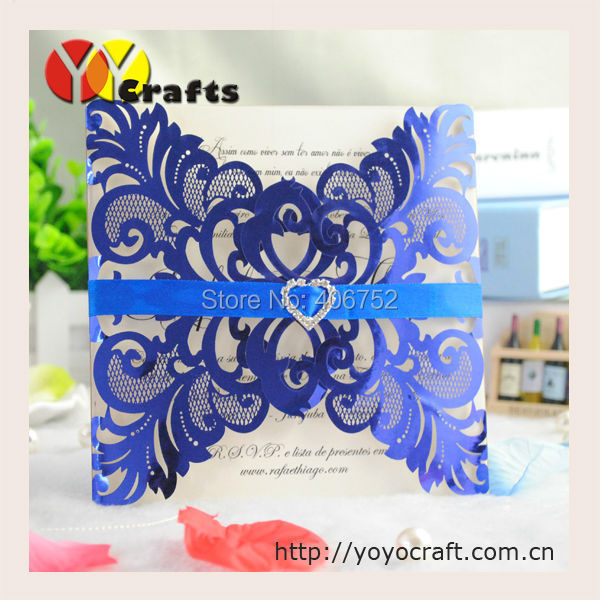 Hot On Aliexpress Alibaba Laser Cut Customized Wedding Invitation Card With Metallic Blue Color