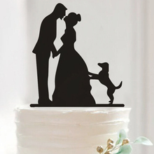 Pretty Bride and Groom Dog Cake Toppers Couple Wedding Romantic Cake Topper for Wedding Cake Decorative Accessories