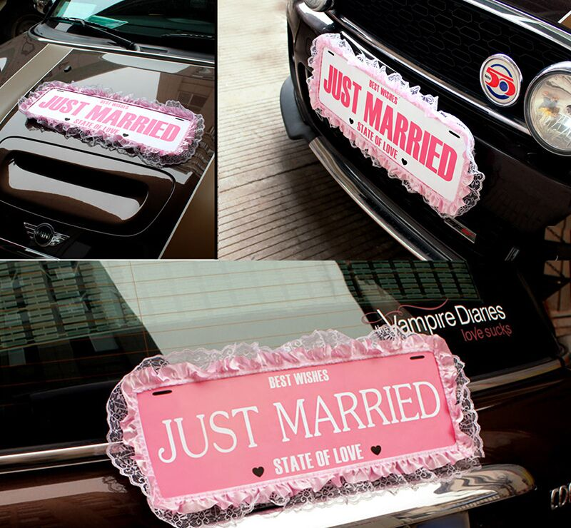 just married lace garland banner wedding car hangtag sign photo props wedding motorcade car decoration