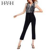 HYH Haoyihui  Sexy V-collar pearl pants sleeveless double-breasted V-neck Rompers women party office lady Jumpsuits