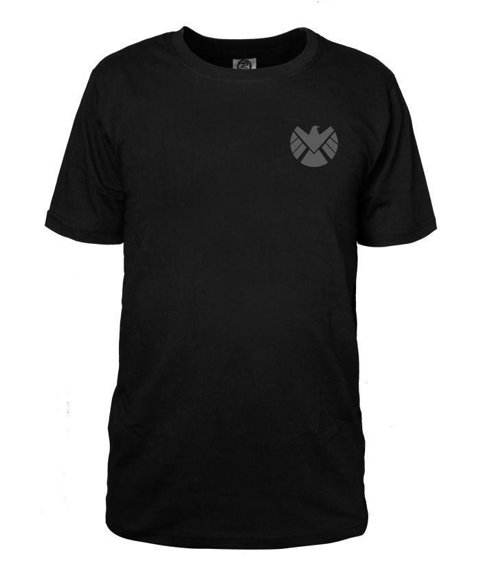 Men T-shirt Agents of S.H.I.E.L.D. LOGO Slim Black Cotton T Shirt Agent Phil Coulson Shirt Tops Tees