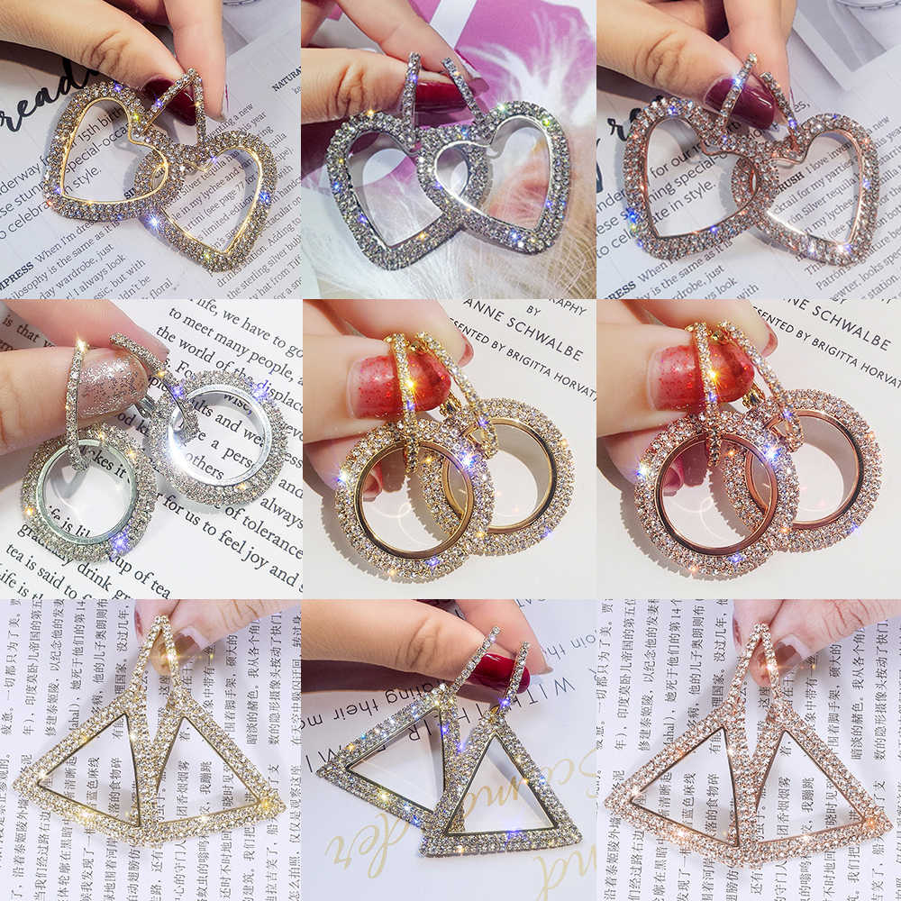 Geometric Drop Earrings Full Crystal Big Circle Heart Earring Large Long Brinco Ear Accessories Christmas Gift 3 Colors