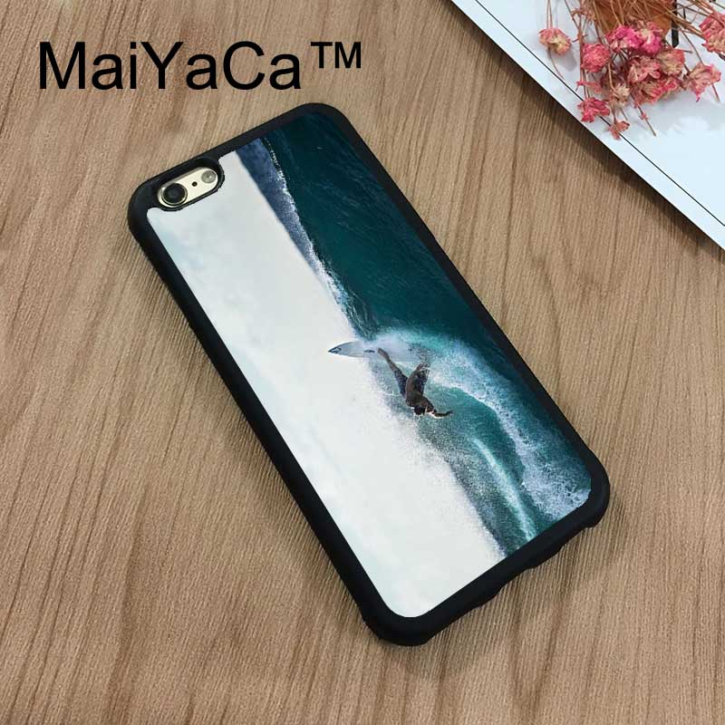 MaiYaCa Surfer Waves Surfboard Beach For iPhone 8 Coque Luxury Full Protection Soft TPU Back Cover