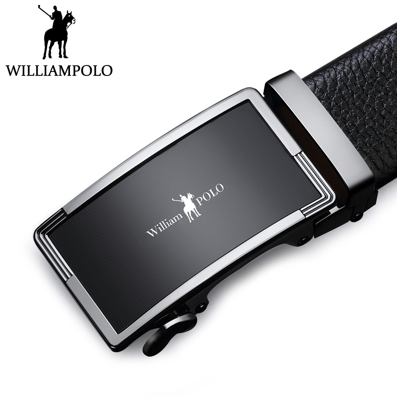 WilliamPolo Men Belt Leather Business Casual Belt For Man Zinc Alloy Automatic Buckle Waist Strap Black Cowskin Jeans Belts Gift