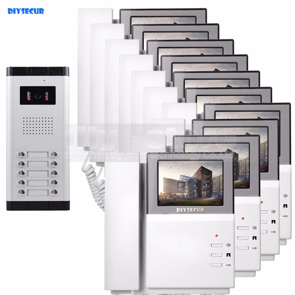 DIYSECUR 4.3 HD Monitor Apartment Video Door Phone Video Intercom Doorbell System 700 TVLine IR Camera for 10 Families радиоуправляемый квадрокоптер mjx x102h с hd fpv камерой и барометром rtf 2 4g