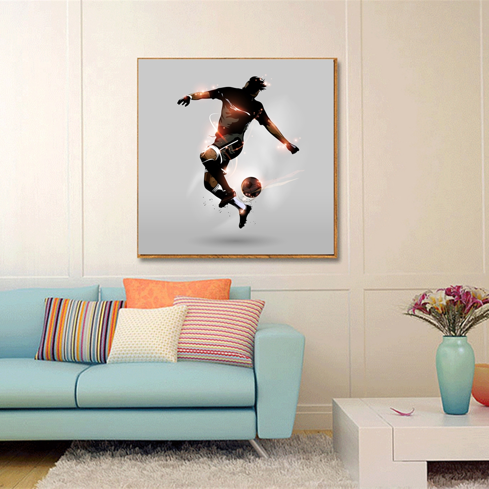 Cartoon Poster Art Print Football Player Hat-trick Soccer Artwork Sport Wall Art Canvas Painting for Room Home Wall Decor Custom