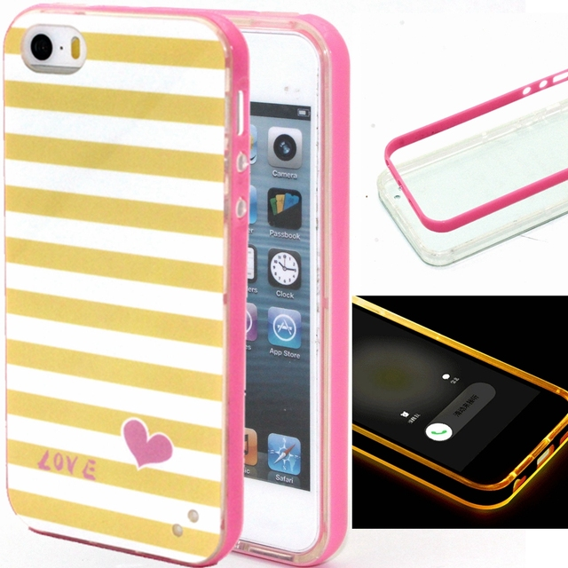 Letter Panda pattern Soft TPU +PC 2 in 1 Case For iPhone 5/5s Back Cover  yellow black white Stripes Case Incoming Call LED Blink on Aliexpress com |