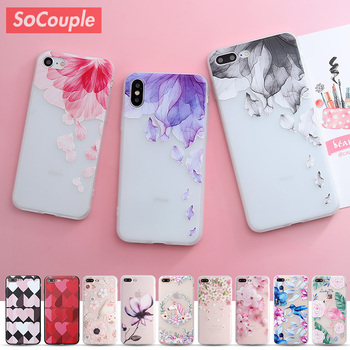 SoCouple Relief TPU case For iphone 7 8 7/8 plus 5 5s SE Case Ultra-thin Scrub Silicone Phone Cases For iphone 6 6S Plus X