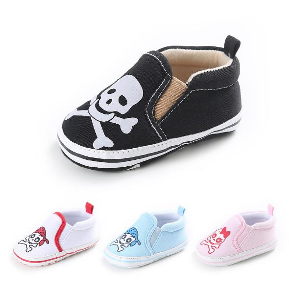 Hot sale Cartoon Skull Toddlers Baby Canvas shoes Soft bottom First walkers Baby moccasins Bebe Anti-slip Baby shoes