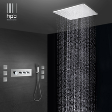 Brass Bathroom Thermostatic Water Mixer Ceiling Mounted Shower Head Bath Rain Shower Set Faucet torneira banheiro HP2218 concealed thermostatic shower set panel bathroom mixer faucet bath tap sus304 ceiling shower head 300x300 rain mist bf5203