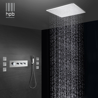 HPB Brass Bathroom Thermostatic Water Mixer Ceiling Mounted Shower Head Bath Rain Shower Set Faucet torneira banheiro HP2218