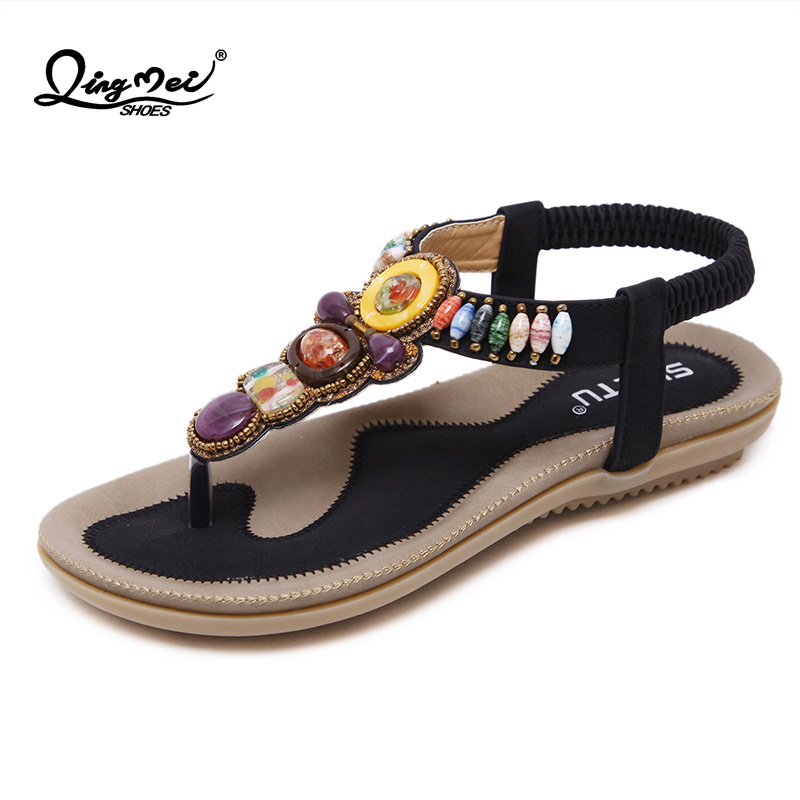 a5c36bf0db2dbe QINGMEI 2018 Bohemian Sandals Flat With String Bead Female Flat Women Beach  Leather Sandals Female Summer Lady Casual Shoes-in Low Heels from Shoes on  ...