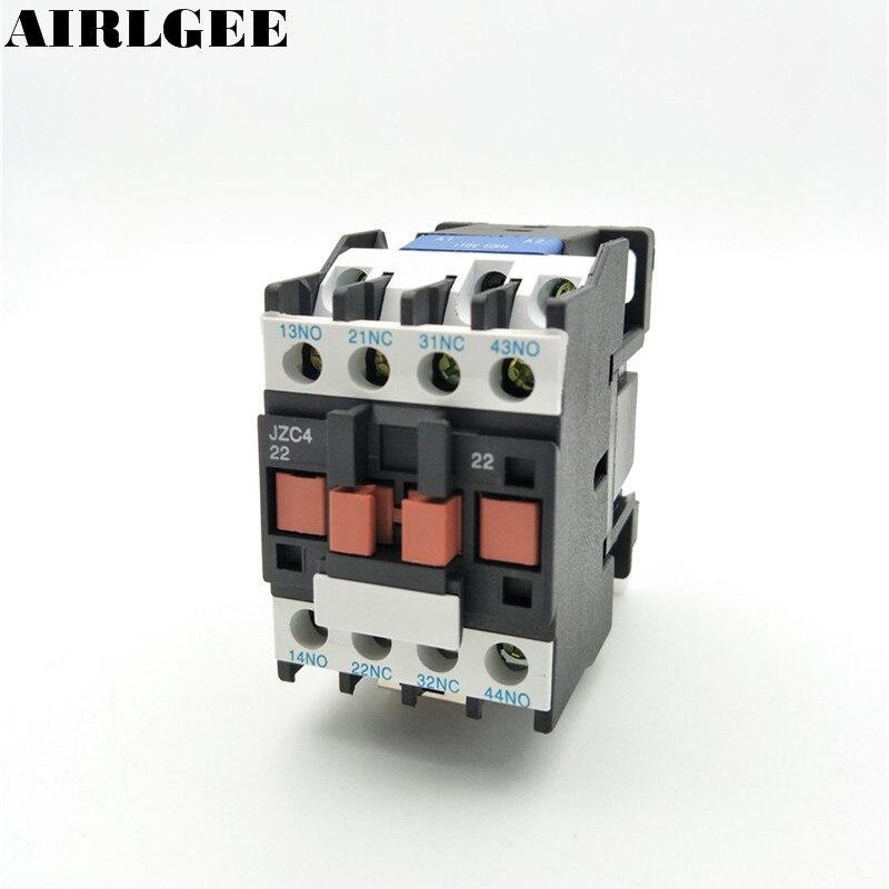 JZC4-22 Contacteur relais 24 36 110 220 380 v Bobine 3 p 3 Phase 2NO + 2NC AC Contacteur 10A ui 690 v