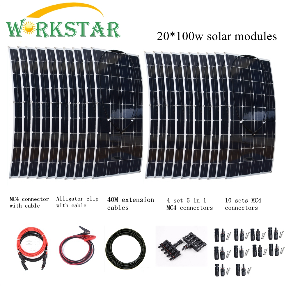 20pcs Mono 100w <font><b>Solar</b></font> <font><b>Panels</b></font> Modules with MC4 Connectors and Cables House Use Off Grid <font><b>Solar</b></font> <font><b>2000W</b></font> Power System Factory Price image