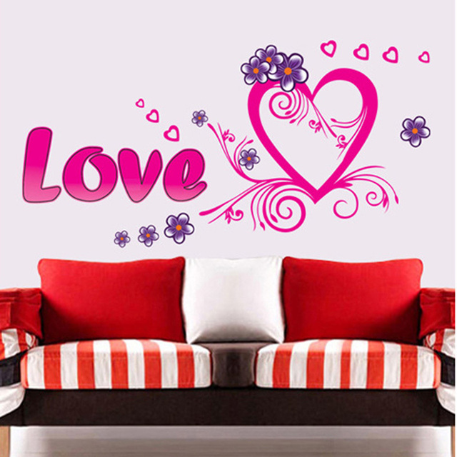 Love Heart Design Bedroom Living Room Wall Sticker Decor Decal DIY ...
