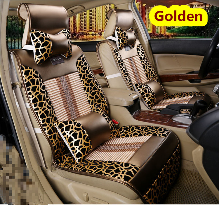 Fashion Leopard Print Danny Leather With Ice Cotton Car Seat Cover Universal Meryl Luxury Covers In Automobiles From