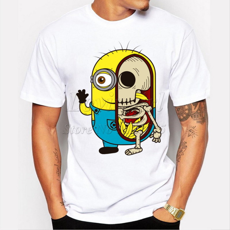 Fashion Minions Skull Printed Men T Shirt Short Sleeve
