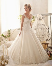 Custom Made 2015 New Design Princess Wedding Dresses Beading Lace Elegant Plus Size vestido de novia Free Shipping MO5
