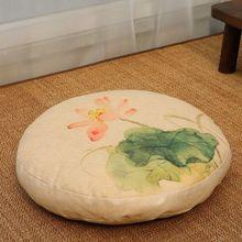 Linen Meditation Cushion Round Japanese Futon Large Floor Cushions Flat Pads Removable and Washable