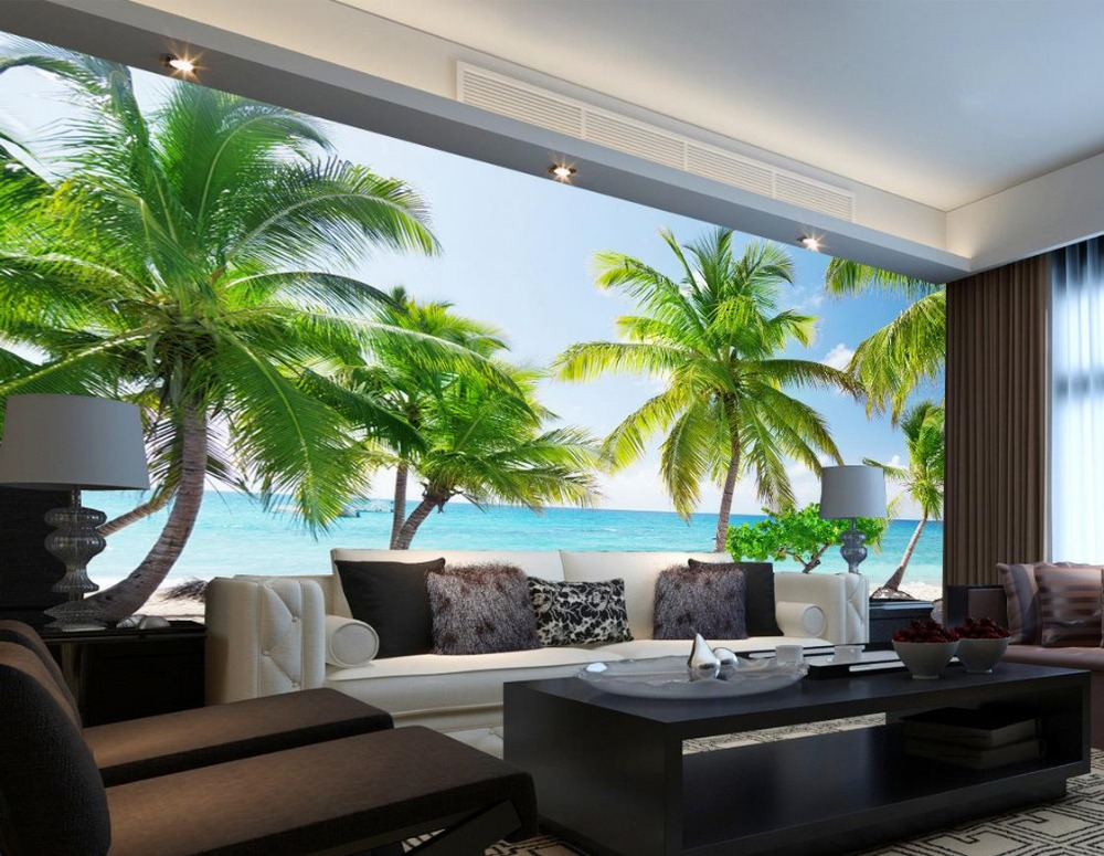 Beach Landscape Blue Sky Backdrop Mural 3d Room Wallpaper