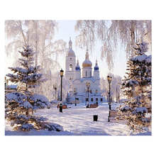 WEEN Snow castle DIY Painting By Numbers, Canvas Painitng, Home Wall Art Picture, Coloring By Numbers For Home Decor 40x50cm royaldream sexy woman diy painting by numbers canvas painitng home wall art picture coloring by numbers for home decor
