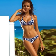 New High Quality Blue and White Chequered Sexy Bikini 2019 Push Up Two-piece Elasticity Swimwear Women Fishing And Camping