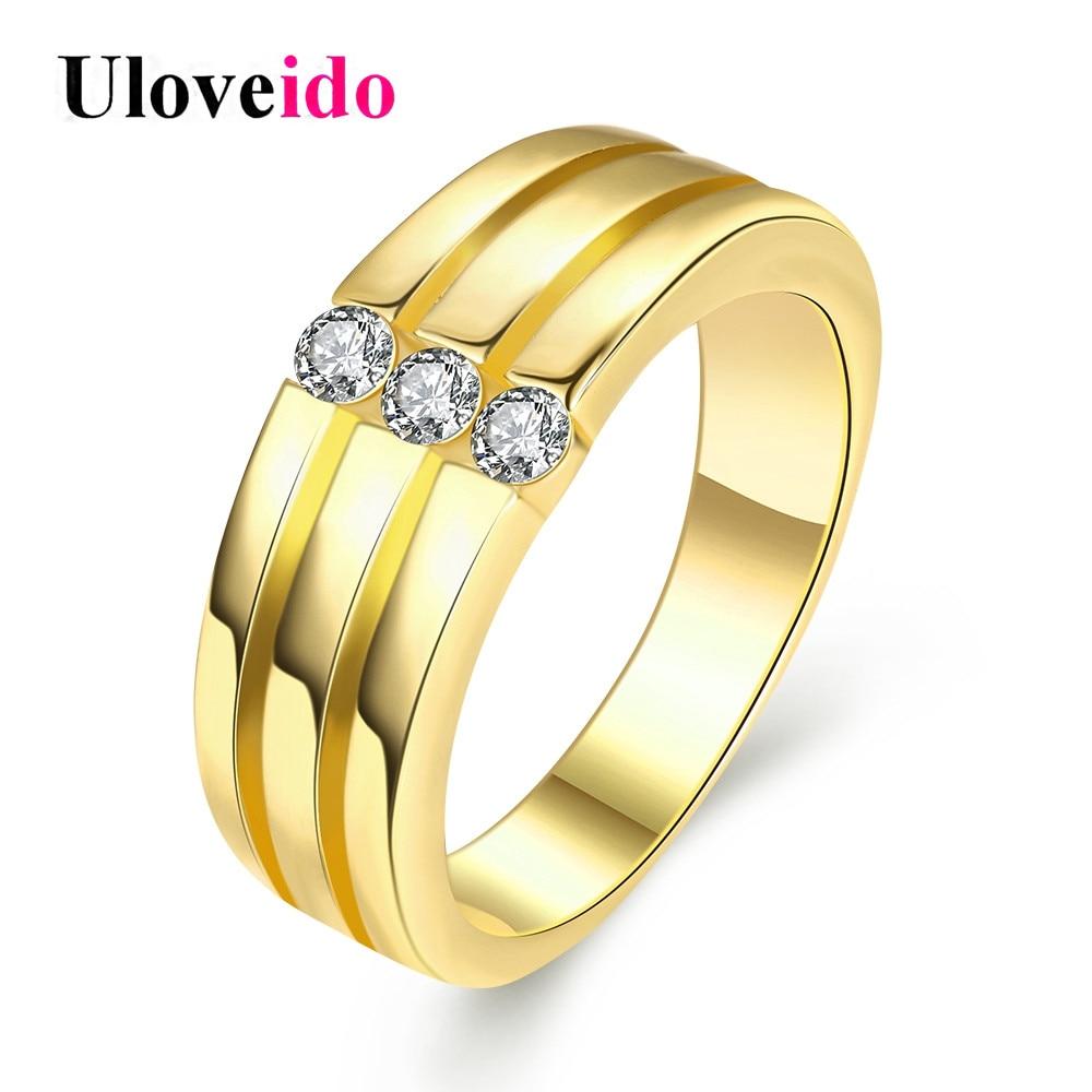 Uloveido Ретро участия мужские ювелирные изделия золотые кольца Цвет  мужские кольца обручальные кольца моды кольца с камнями Brincos скидка 15%  R124 7799477d2f1