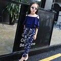 2017 primavera verano clothing set 2 unids familia madre y chicas Ruffles Camisola Tops + Pant Floral Twinset Traje de Padre-Hijo G684