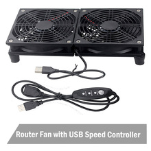 цена на Gdstime Router Cooling Fan DIY PC Cooler TV Box Wireless Quiet DC 5V USB Power 120mm 240mm Fan 12CM W/Screws Protective Net